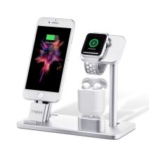TYCKA Aluminum 3 in 1 Charging Station for iPhone, Watch Stand and Charging Stand for Apple Watch Series 3/2/1, iPhone X 8 Plus 8 7 Plus 7 6S Plus 6s 6Plus 6 5s 5, AirPods, iPad.