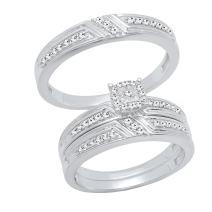 Dazzlingrock Collection 0.65 Carat (ctw) Round Cut Diamond Men & Women's Engagement Ring Trio Set, Sterling Silver