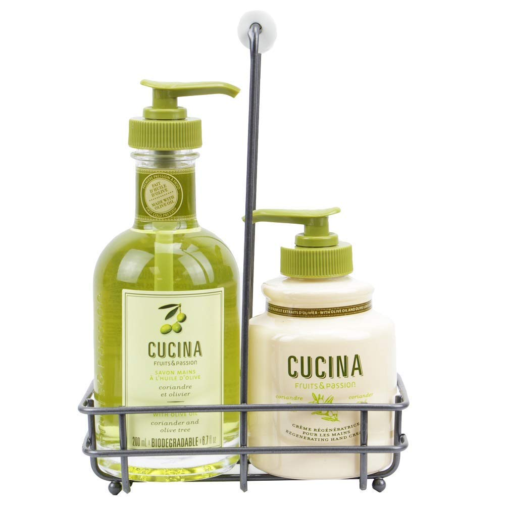 Fruits & Passion [Cucina] - Coriander & Olive Tree Scented Liquid Hand Soap and Lotion Set with Caddy, Hand Wash Soap (5.1 fl oz) with Hand Cream Gift Set (6.8 fl oz)