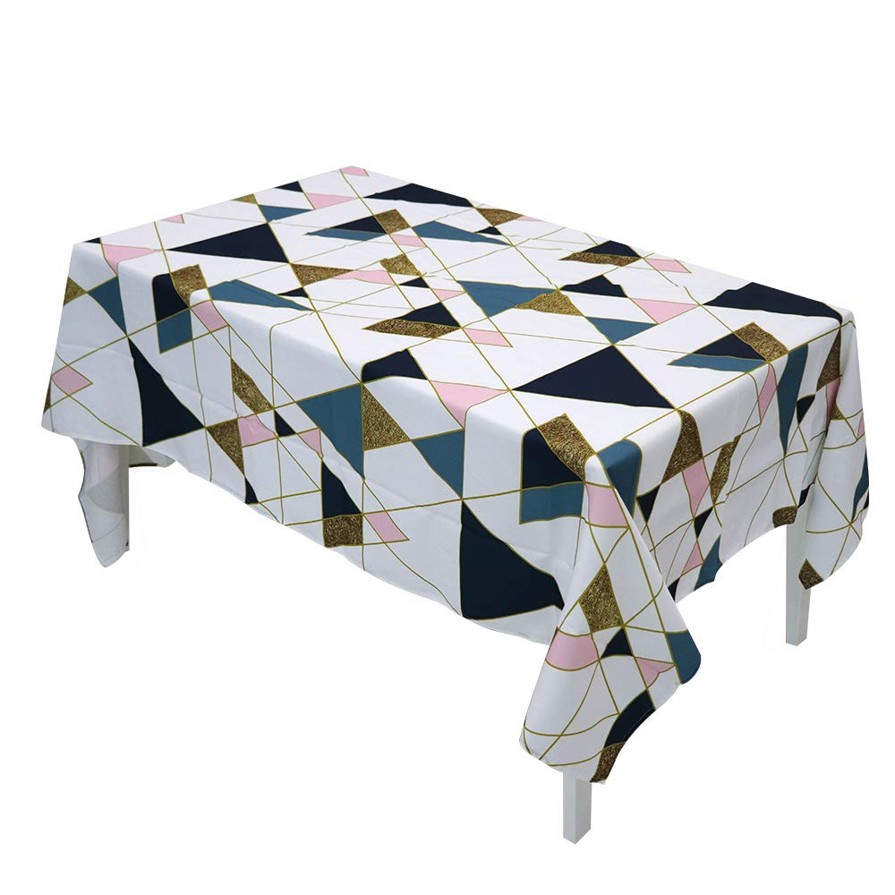 Allenjoy Rectangle Geometric Colorful Triangle Tablecloth - 60 x 102 Inch - Stain Resistant, Waterproof, Wipe Clean Polyester Rustic Table Cloth for Dining Table, Picnic, Parties & Buffet Decoration