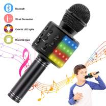 Verkstar Wireless Bluetooth 4 in 1 Karaoke Microphone, Portable Handheld Karaoke Machine Speaker for Birthday Home Party Player with Record Function for Android & iOS All Devices (Black)