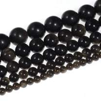 """Natural Stone Beads 12mm Gold Obsidian Gemstone Round Loose Beads Crystal Energy Stone Healing Power for Jewelry Making DIY,1 Strand 15"""""""
