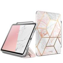 i-Blason Cosmo Case for New iPad Pro 11 Inch (2020/2018 Release), Full-Body Trifold Stand Protective Case Smart Cover with Auto Sleep/Wake & Pencil Holder (Marble)