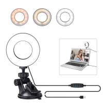 Bekada Video Conference Lighting for Laptop Webcam, Zoom Meeting Light for Computer, Upgrade LED Ring Light with Adhesive Suction Cup for Live Streaming, Self-Broadcast, TikTok
