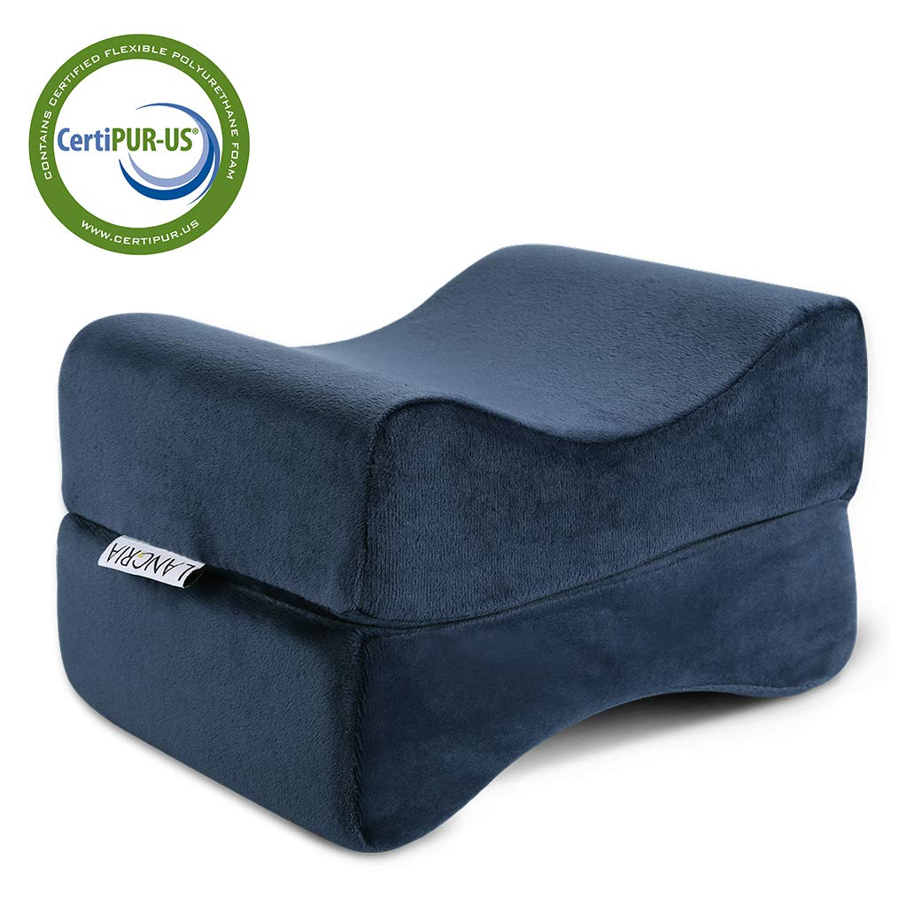 LANGRIA Knee Pillow Memory Foam Leg Pillows for Leg, Back, Hip Pain Relief, Foldable Design with Removable Cover, CertiPUR-US Certified, (9.8 x 5.9 x 7.0 inches) Navy Blue