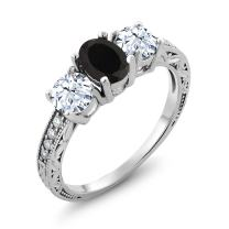 Gem Stone King 925 Sterling Silver Black Onyx Women's Ring (2.42 Ct Gemstone Birthstone, Available in size 5, 6, 7, 8, 9)