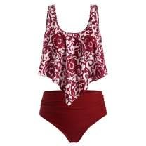 Hotkey Bikini for Women High Waisted Swimsuits Tummy Control Two Piece Tankini Ruffled Top with Swim Bottom Bathing Suits