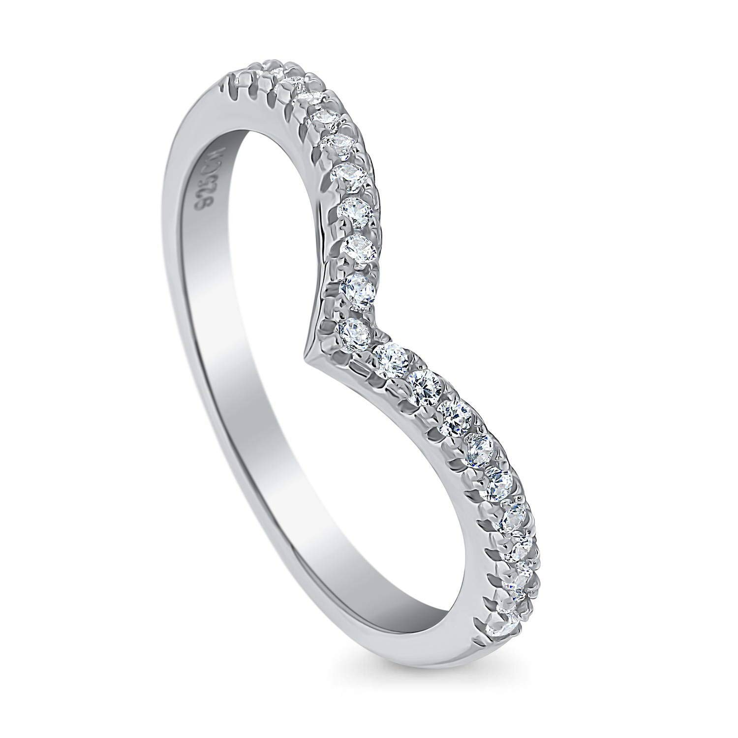 BERRICLE Rhodium Plated Sterling Silver Cubic Zirconia CZ V Shaped Wedding Curved Half Eternity Band Ring