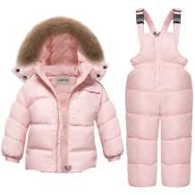 CARETOO Baby Boys Girls Winter Down Coats Snowsuit Outerwear 2Pcs Clothes Hooded Jacket Snow Ski Bib Pants Outfits Set
