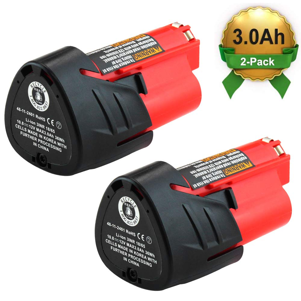 2Packs 12V 3000mAh Lithium-ion Replacement for Milwaukee M12 Battery 48-11-2402 48-11-2440 48-11-2411 48-11-2401 XC Cordless Drill Batteries