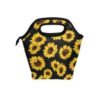 Naanle Sunflower Insulated Zipper Lunch Bag Cooler Tote Bag for Adult Teens Kids Girls Boys Men Women, Floral Flower Lunch Boxes Lunchboxes Meal Prep Handbag for Outdoors School Office