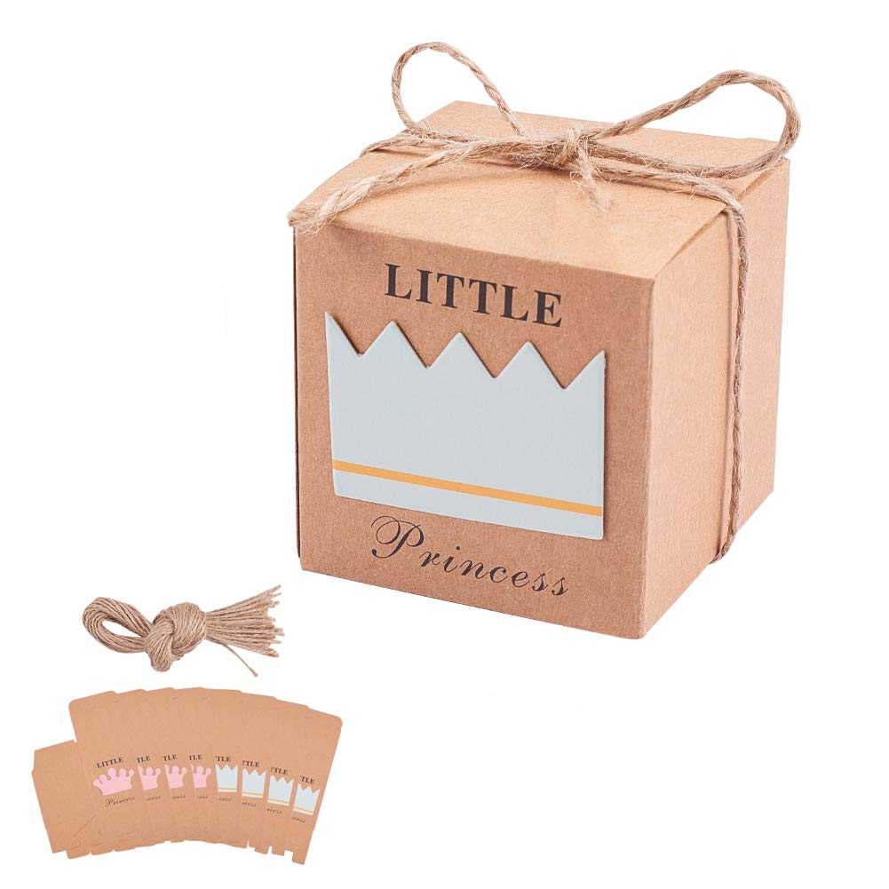 PH PandaHall 24sets Kraft Gift Boxes Princess Wedding Favor Boxes Candy Boxes with Hemp Rope 2x2x2 inch Favor Boxes Party Supplies