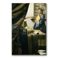 The Artist's Studio by Jan Vermeer, 10x32-Inch Canvas Wall Art
