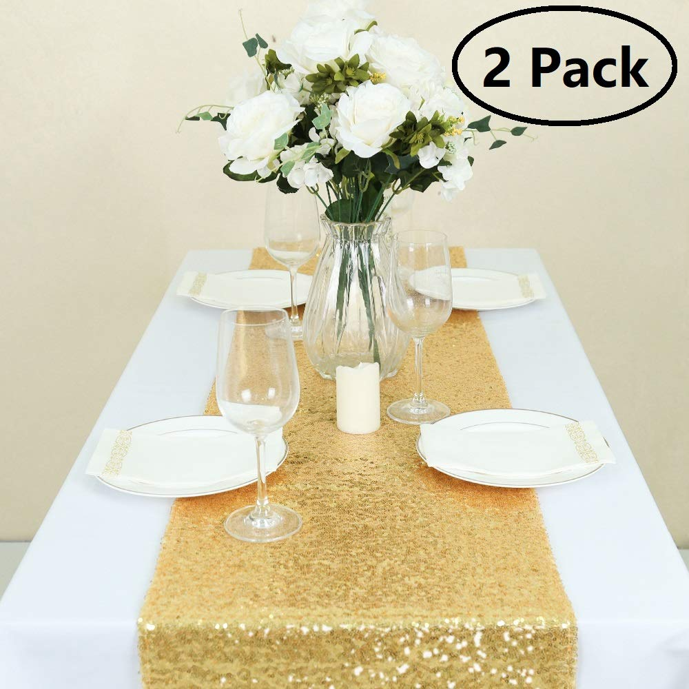 GFCC Gold Sequin Table Runners - 2PCS 12x108inch Gold Table Runner Glitter for Party Wedding Brithday Banquet Dining Christmas Decoration