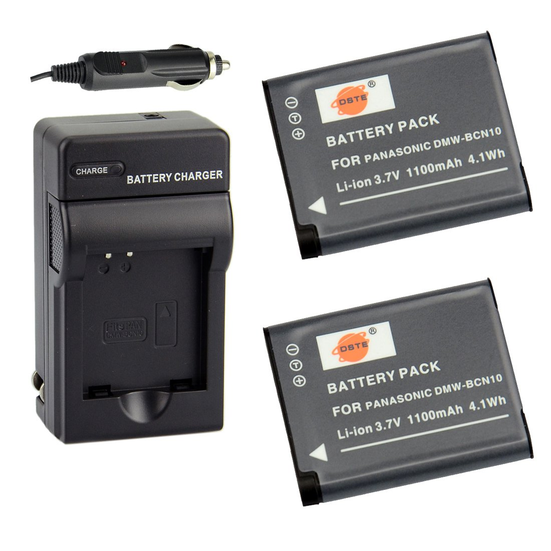 DSTE Replacement for 2X DMW-BCN10 Battery + DC146 Travel and Car Charger Adapter Compatible Panasonic Lumix DMC-LF1 LF1K LF1W Camera as DMW-BCN10E