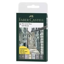 Faber-Castell F167808 8 x Pitt Artist Pens (Soft Brush) Shades of Grey