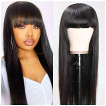 Beauty Forever Silk Straight Wigs With Bangs None Lace Human Hair Wigs for Black Women Brazilian Virgin Hair Full Machine Made Wig Breathable Net Cap Natural Color (20 inch)