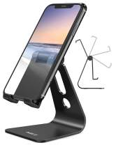 Nulaxy Adjustable Cell Phone Stand, Desk Phone Holder, Cradle, Dock Compatible with iPhone, Samsung Galaxy, Google Pixel, Nintendo Switch, All Android Phones, Black