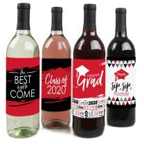 Big Dot of Happiness Red Grad - Best is Yet to Come - Red 2020 Graduation Party Decorations for Women and Men - Wine Bottle Label Stickers - Set of 4