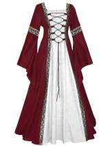 Ainiel Women Medieval Dress Lace Up Vintage Floor Length Cosplay Gown