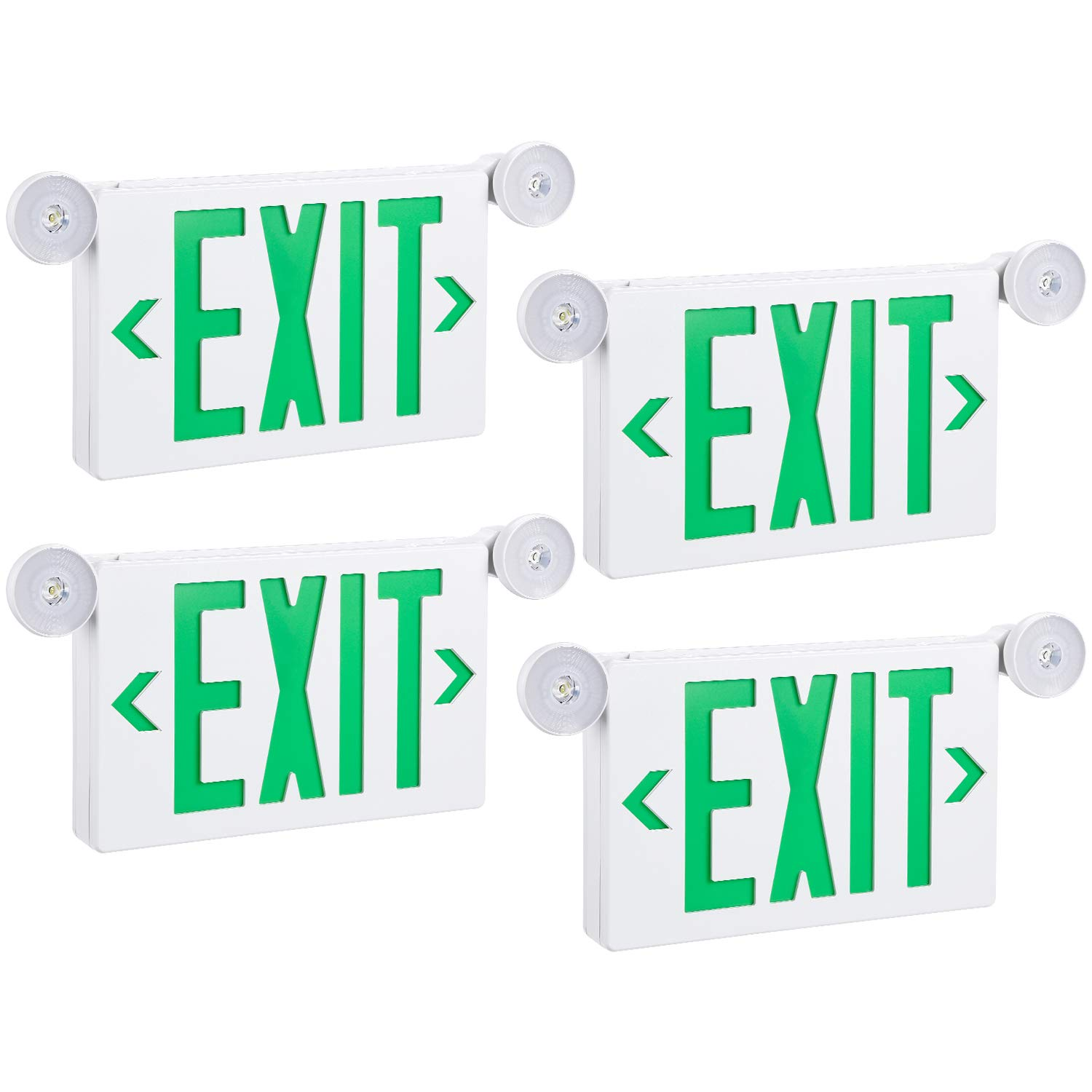 TORCHSTAR Green LED Exit Sign with Emergency Lights, Two Adjustable Head, Double Face, AC 120V/277V, Battery Backup, Top/Side/Back Mount Exit Light Combo, UL Listed for Commercial, Business, Pack of 4