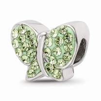 925 Sterling Silver Charm For Bracelet Green Swarovski Butterfly Bead Nature Fine Jewelry For Women Gifts For Her