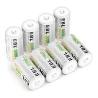 EBL Rechargeable C Batteries 5000mAh Ni-MH C Size Battery, Pack of 8