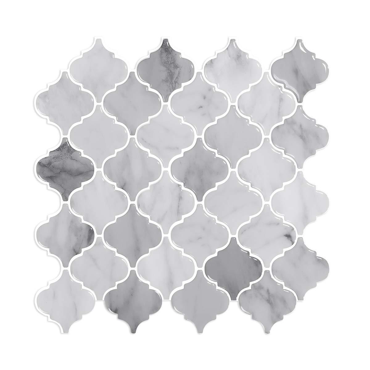 "Peel and Stick Wall Tile for Kitchen, 12"" X 12"" Arabesque Tile Peel and Stick Backsplash Decorative Tiles, Stick on Backsplash (5 Sheets, Thicker Design)"