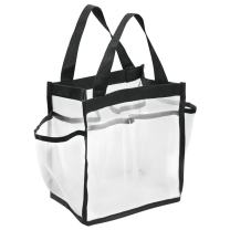 """iDesign Water Resistant Nylon/Mesh Shower Tote Bag with Handles - 8.5"""" x 5.88"""" x 9.25"""", White/Black"""
