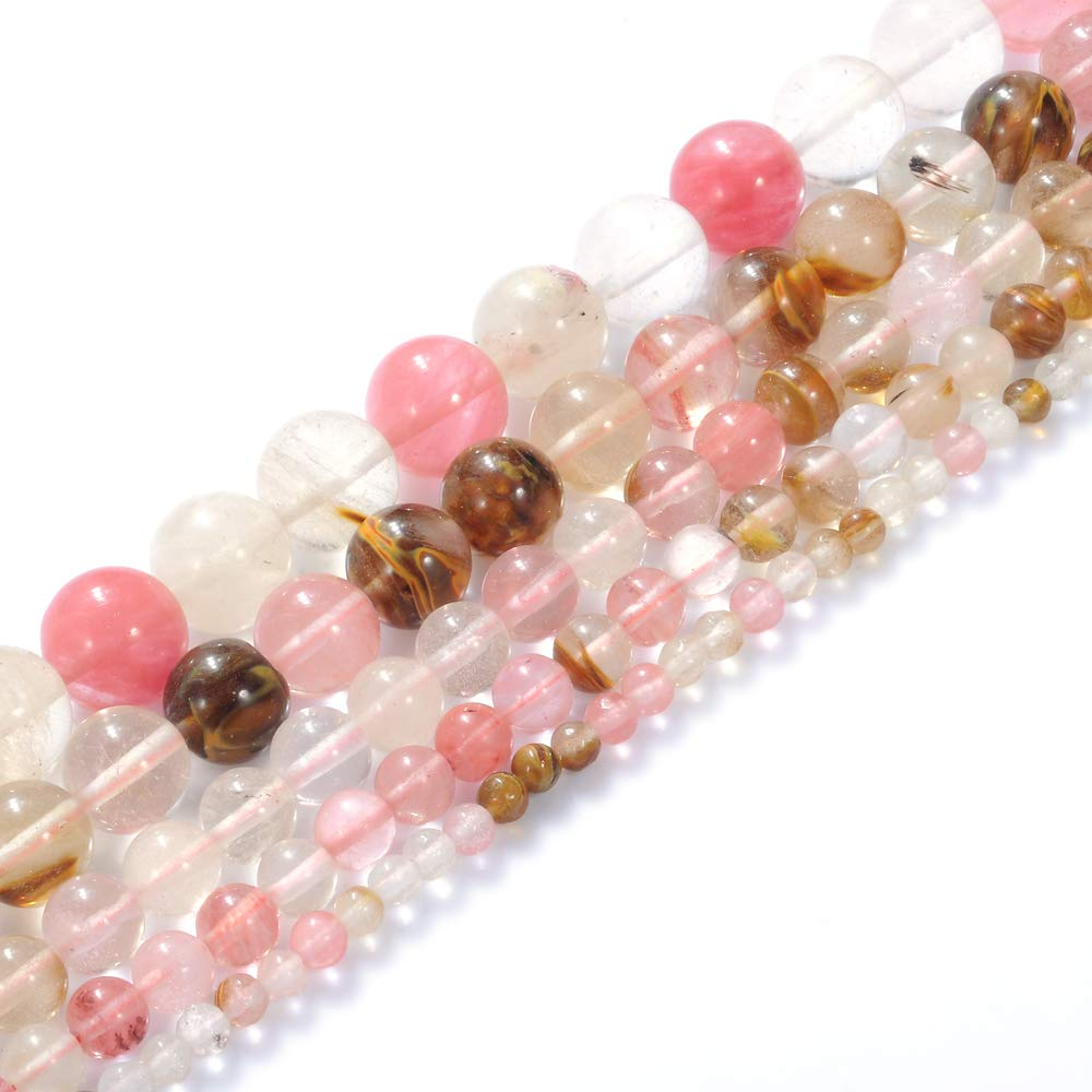 """Natural Stone Beads 3mm Mixed Watermelon Crystal Gemstone Round Loose Beads Crystal Energy Stone Healing Power for Jewelry Making DIY,1 Strand 15"""""""