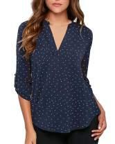 roswear Women's Polka Dots Roll Tab Long Sleeve Blouse Shirt