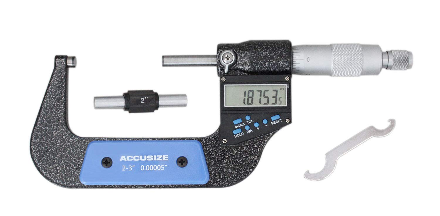 Accusize Industrial Tools 2-3''/50-75 mm by 0.00005''/0.001 mm 7-Key Electronic Digital Micrometer, Water Proof, Ac21-3022