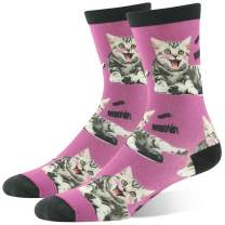 Novelty Bamboo Crew Socks, J'colour Crazy Fun Animal Print Casual Dress Socks