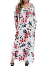 Allegrace Women's Casual Loose Plus Size Dress Long Sleeve Colored Stripe Floral Pocket Split Maxi Dresses