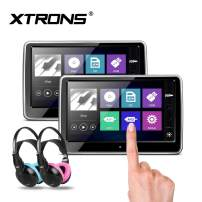 XTRONS 2 x 10.1 Inch Pair HD Digital TFT Capacitive Touch Screen Car Headrest DVD Player 1080P Video Children IR Headphones(Blue&Pink)