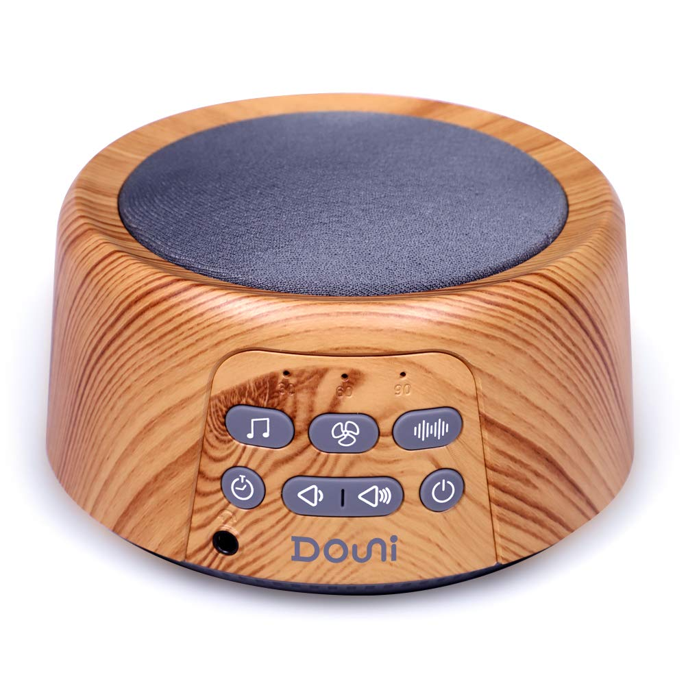 Douni Sleep Sound Machine - White Noise Machine with 24 Soothing Sounds for Sleeping & Relaxation, Timer & Memory Function,Sleep Therapy for Kid, Adult, Nursery, Home,Office,Travel.Wood Grain