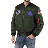 sandbank Men's USA Flag Lightweight MA-1 Flight Bomber Jacket Windbreaker