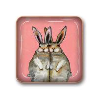 Studio Oh! Small Metal Catchall Tray Available in 12 Different Designs, Eli Halpin Bunny Friends