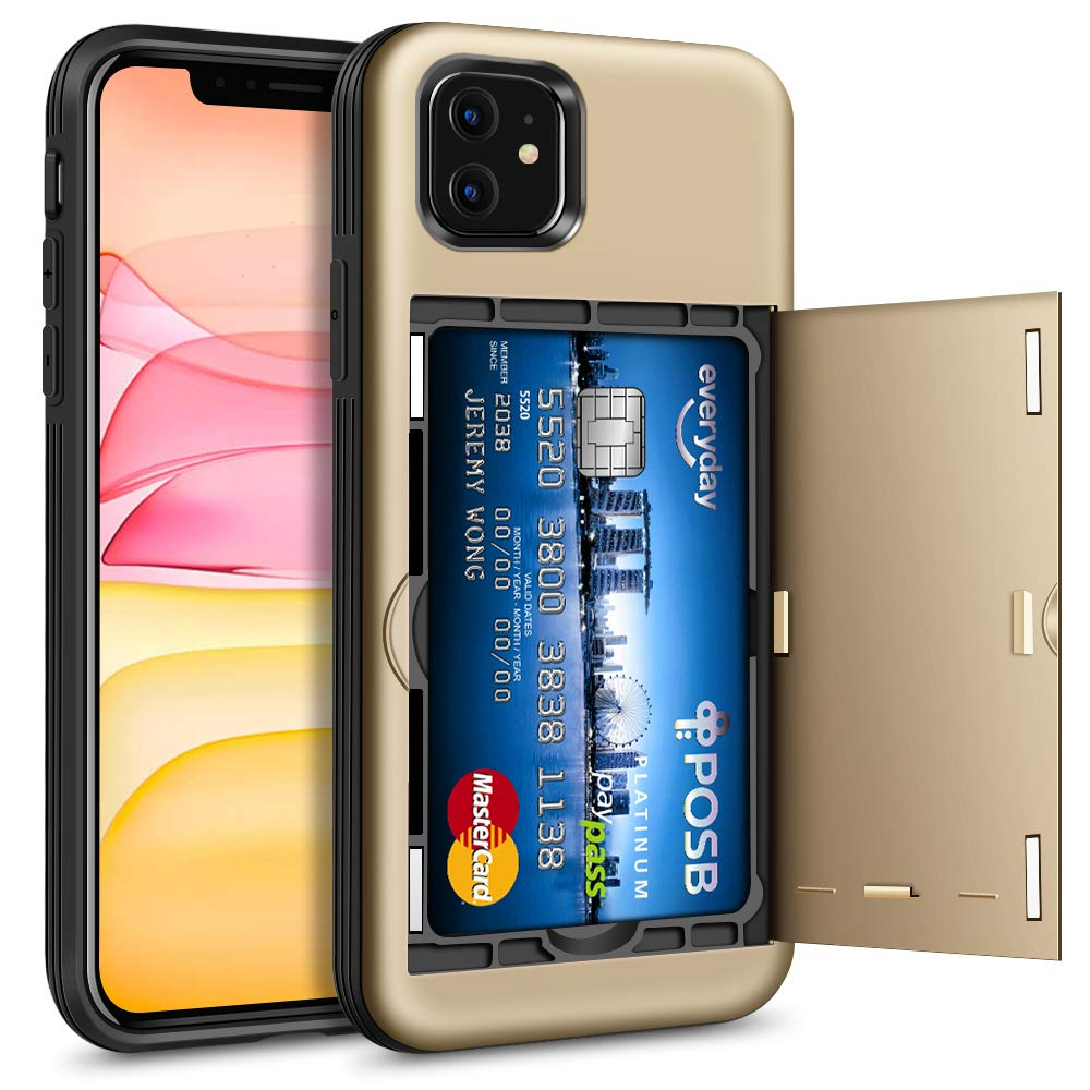 Hython Case for iPhone 11 with Hidden Card Holder Wallet Design, Slim Drop Protection Defender Anti-Scratch, Hybrid Soft Rubber Hard Shell Bumper Cover for iPhone 11 6.1-inch 2019, Gold