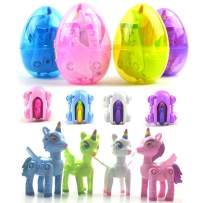 LXSLFY Easter Egg Pony Unicorn Transfiguration Toy Unicorn Easter Egg Stuffing Toy, Girl Boy Easter Basket Filling, Carnival School Supplies and Gift Exchange