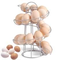 Egg Skelter Deluxe Modern Spiraling Egg Dispenser, Egg Baskets for Fresh Eggs, Freestanding Egg Rack, Storage Organizer Display Spiral Egg Chicken Holder for Countertop in the Kitchen, Silver