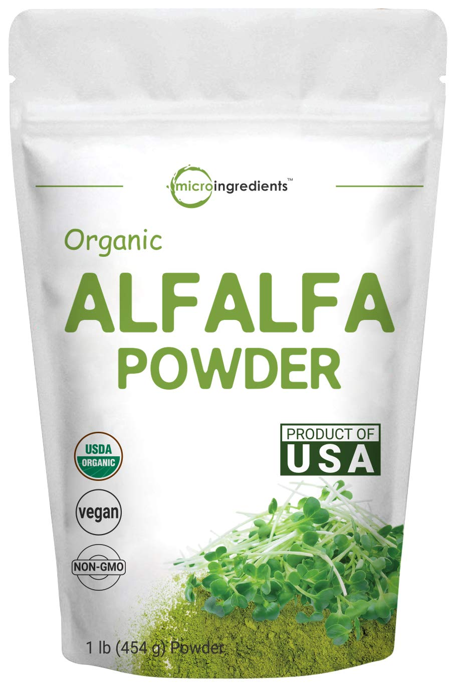 Sustainably US Grown, Organic Alfalfa Powder, 1 Pound (16 Ounce), Contains Immune Vitamin C and Minerals, Best Green Superfoods for Smoothie, Drinks, Beverage and Cookies, Non-GMO and Vegan Friendly