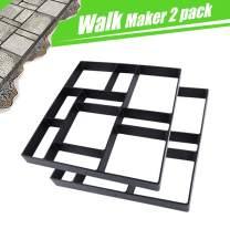"17.5""x15.5""x1.5"" 2Pack Concrete Molds Reusable Walk Path Maker Paving DIY Path Garden Yard Patio Mold (10-Grid)"