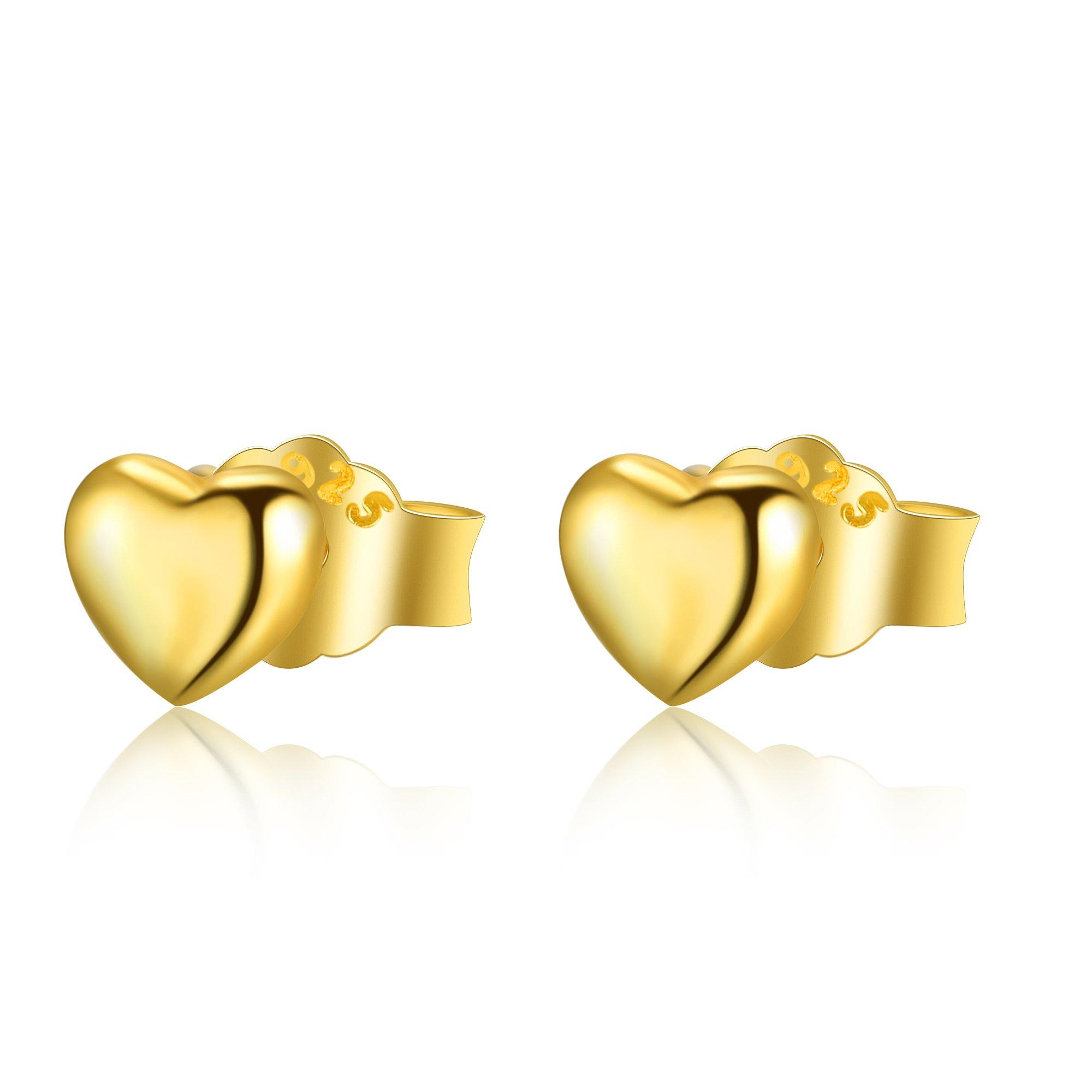 Sterling Silver Heart Stud Earrings, Simple Heart Shaped Stud Earrings for Women (yellow-gold-plated-silver)