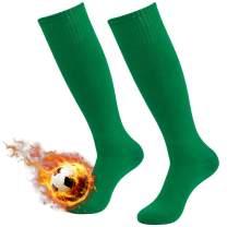 Three street Soccer Socks, Unisex Knee High Solid/Stripe Athletic Football Tube Socks 2/6/12 Pairs