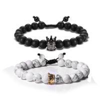 EnjoIt Couple Distance Bracelet Diffuser Beads Crown Queen Bracelets Matte Agate & White Howlite Lava Stone