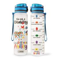 64HYDRO 32oz 1Liter Motivational Water Bottle with Time Marker, Autism Awareness Not A Disability it is a Different Ability HRA2504002 Water Bottle