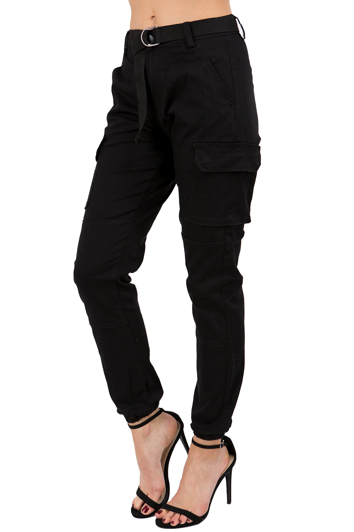 TwiinSisters Women's High Rise Slim Fit Color Jogger Pants with Matching Belt - Size Small to 3X