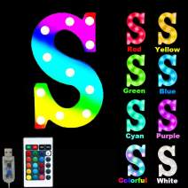 16 Color Changing Marquee Letter Light,Light Up Colorful 26 Alphabet Signs – Home Decor Name Signs – Battery Operated LED Remote Timer – Lighted Vintage Accessories & Decorations-S