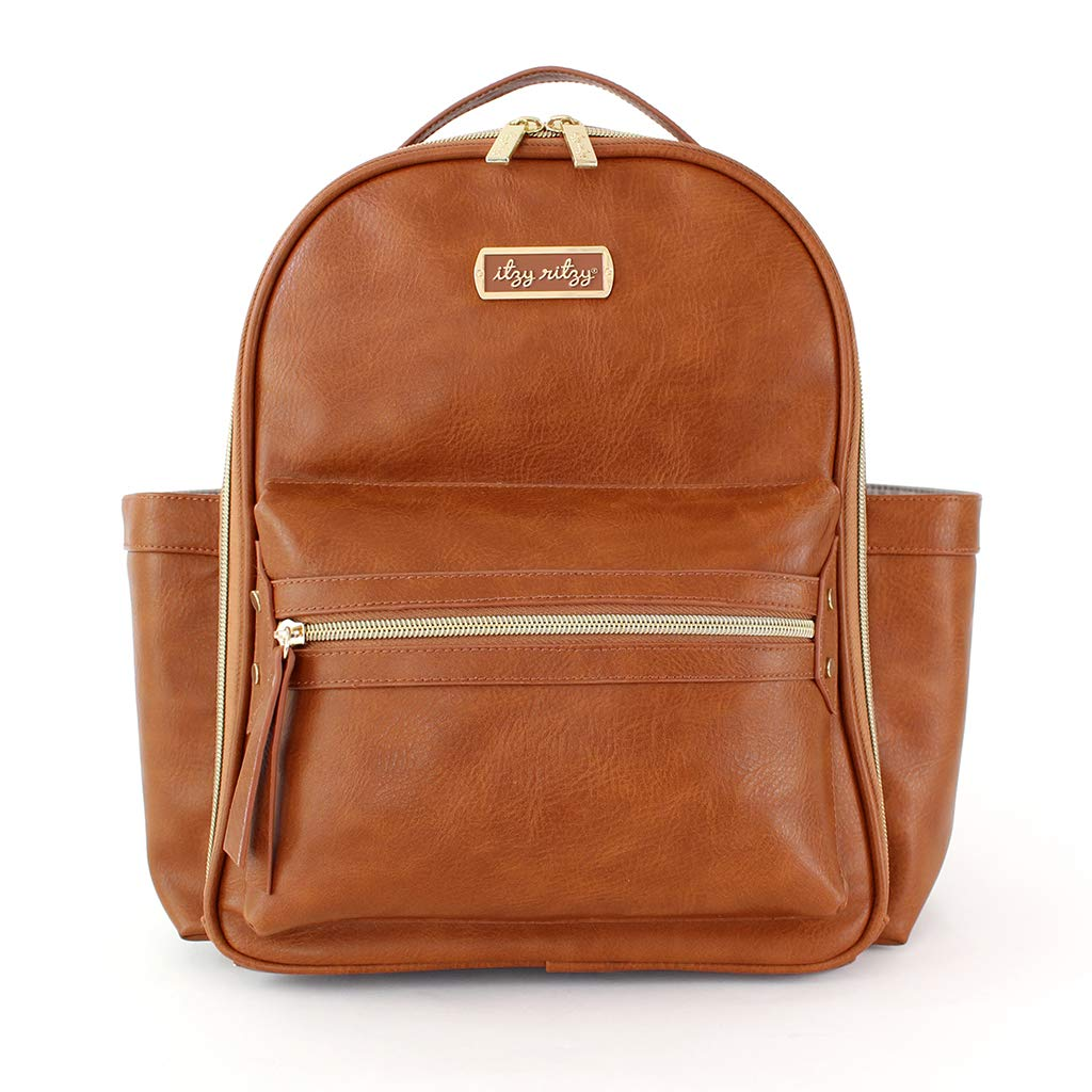Itzy Ritzy Mini Diaper Bag Backpack & Chic Mini Diaper Bag Backpack with Vegan Leather Changing Pad, 8 Total Pockets (4 Internal and 4 External), Grab-Top Handle and Rubber Feet, Cognac